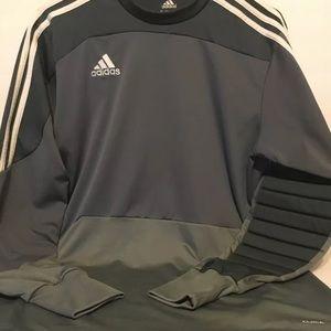 Men's Adidas soccer goalie gray jersey